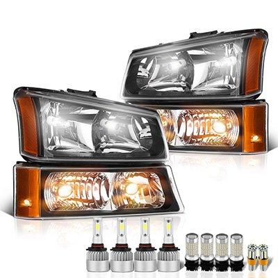 Chevy Silverado 2003-2006 Black Headlights LED Bulbs Complete Kit