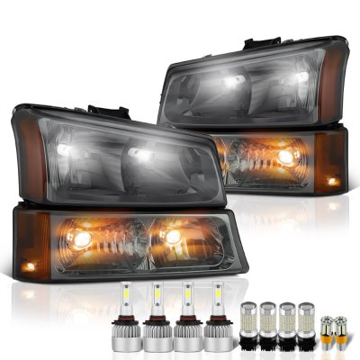 Chevy Silverado 2003-2006 Smoked Headlights LED Bulbs Complete Kit