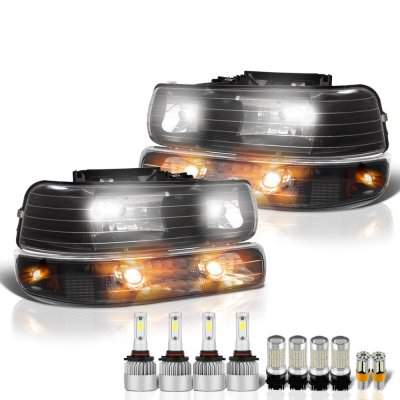 Chevy Silverado 1999-2002 Black Headlights LED Bulbs Complete Kit