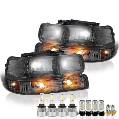 Chevy Silverado 1999-2002 Smoked Headlights LED Bulbs Complete Kit