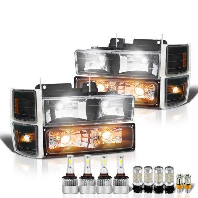 Chevy Silverado 1994-1998 Black Headlights LED Bulbs Complete Kit