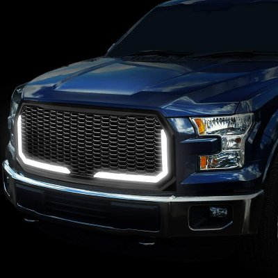 Ford F150 2015-2017 Black LED DRL Honeycomb Front Grille