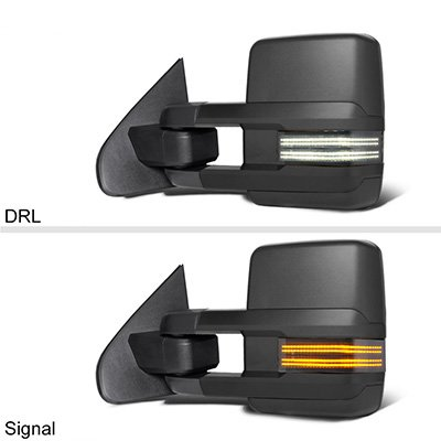 Chevy Silverado 2014-2018 Tow Mirrors Smoked Switchback LED DRL Sequential Signal
