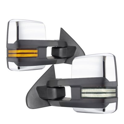Chevy Silverado 2007-2013 Chrome Tow Mirrors Smoked Switchback LED DRL Sequential Signal