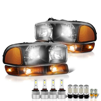GMC Sierra 1999-2006 Black LED Headlight Bulbs Complete Kit