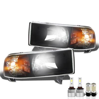 Dodge Ram 1994-2001 Black LED Headlight Bulbs Complete Kit
