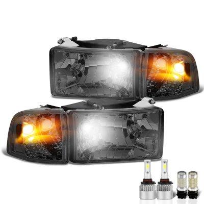 Dodge Ram 2500 1994-2002 Smoked LED Headlight Bulbs Set Complete Kit