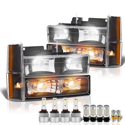 Chevy 2500 Pickup 1988-1993 Black Headlights LED Bulbs Complete Kit