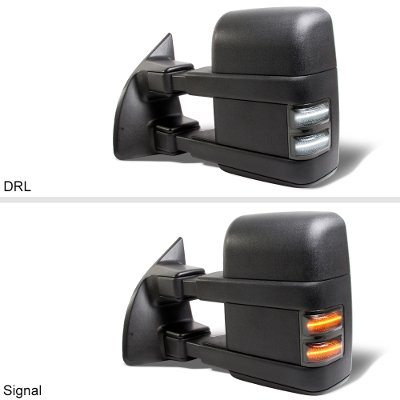 Ford Excursion 2003-2005 Towing Mirrors Smoked Switchback LED DRL Signal Lights