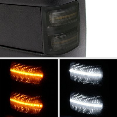 Ford Excursion 1999-2002 Towing Mirrors Smoked Switchback LED DRL Signal Lights