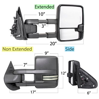 Chevy Silverado 2500HD 2007-2014 Tow Mirrors Smoked Switchback LED DRL Sequential Signal