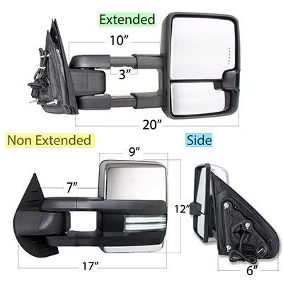 Chevy Silverado 2007-2013 Chrome Tow Mirrors Switchback LED DRL Sequential Signal