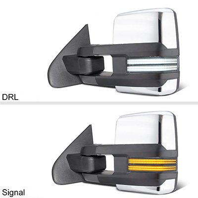 Chevy Silverado 2014-2018 Chrome Tow Mirrors Switchback LED DRL Sequential Signal