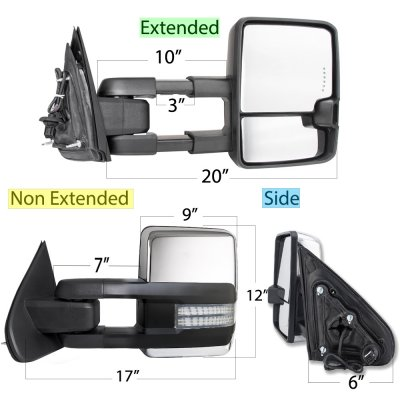 GMC Sierra 2014-2018 Chrome Tow Mirrors Switchback LED DRL Sequential Signal