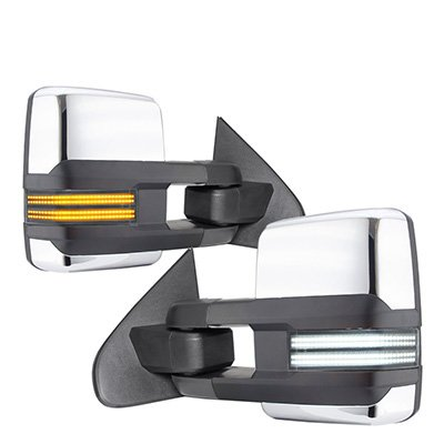 Toyota Tundra 2007-2021 Chrome Tow Mirrors Switchback LED DRL Sequential Signal