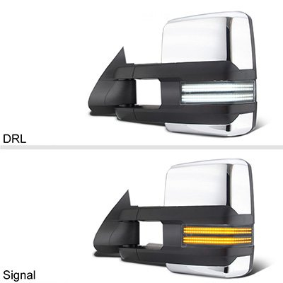 Chevy Silverado 2003-2006 Chrome Tow Mirrors Switchback LED DRL Sequential Signal