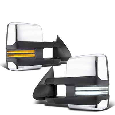 Chevy Silverado 1999-2002 Chrome Tow Mirrors Switchback LED DRL Sequential Signal