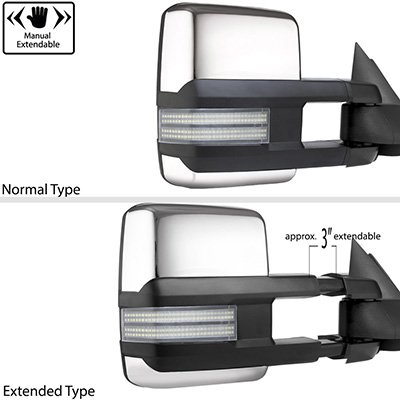 Chevy Silverado 1988-1998 Chrome Tow Mirrors Switchback LED DRL Sequential Signal