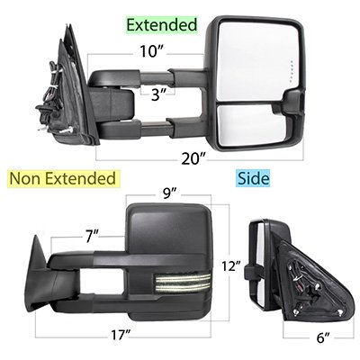 GMC Sierra 2003-2006 Power Folding Tow Mirrors Smoked Switchback LED DRL Sequential Signal