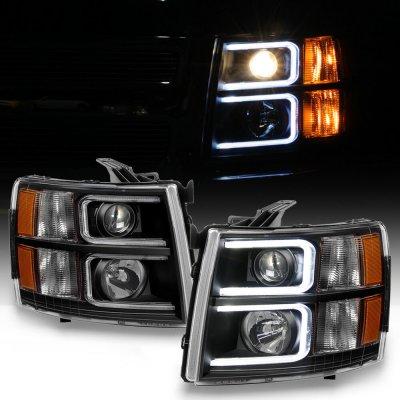 Chevy Silverado 2500HD 2007-2014 Black LED DRL Projector Headlights