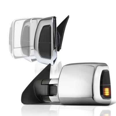 Toyota Tundra 2007-2020 Chrome Power Folding Tow Mirrors Smoked LED