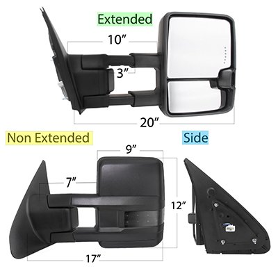 Toyota Tundra 2007-2020 Power Folding Tow Mirrors Smoked LED Lights