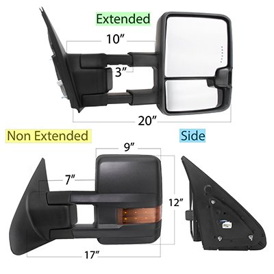 Toyota Tundra 2007-2020 Power Folding Tow Mirrors LED Lights