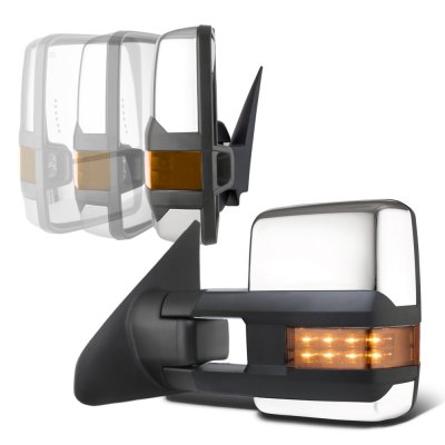 Toyota Tundra 2007-2021 Chrome Power Folding Tow Mirrors LED Lights