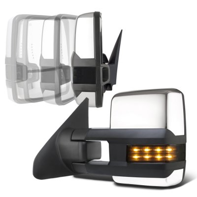 Toyota Tundra 2007-2021 Chrome Power Folding Tow Mirrors Smoked LED Lights