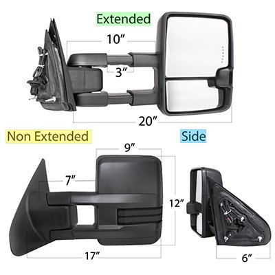 Toyota Tundra 2007-2020 Power Folding Tow Mirrors Smoked LED DRL