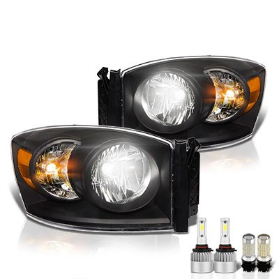 Dodge Ram 2006-2008 Black LED Headlight Bulbs Set Complete Kit