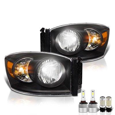 Dodge Ram 2006-2008 Black LED Headlight Bulbs Set Complete Kit