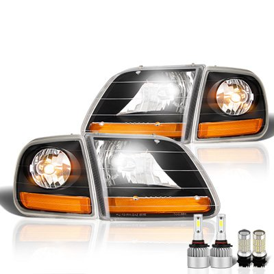 Ford F150 1997-2003 Black Harley LED Headlight Bulbs Set Complete Kit