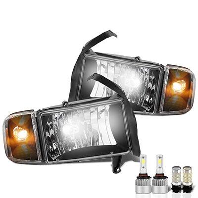 Dodge Ram 2500 1994-2002 Black LED Headlight Bulbs Set Complete Kit