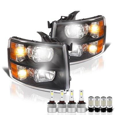 Chevy Silverado 2007-2013 Black Headlights LED Bulbs Complete Kit