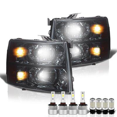 Chevy Silverado 2500HD 2007-2014 Smoked Headlights LED Bulbs Complete Kit