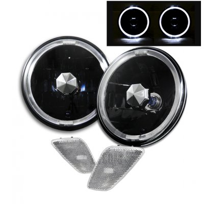 Jeep Wrangler 1997-2006 Black Headlights Halo and Clear Side Marker