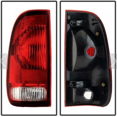 Ford F350 1999-2007 Red and Clear Replacement Tail Lights