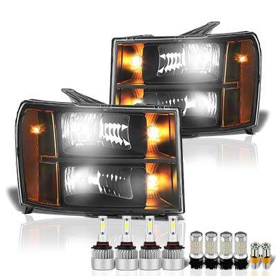 GMC Sierra 2007-2013 Black Headlights LED Bulbs Complete Kit