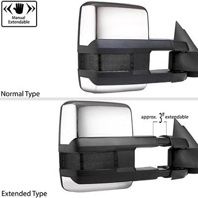 Dodge Ram 1500 2009-2018 Chrome Tow Mirrors Smoked LED Lights Power Heated