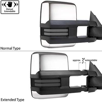 Dodge Ram 1500 2009-2018 Chrome Tow Mirrors Smoked LED DRL Power Heated