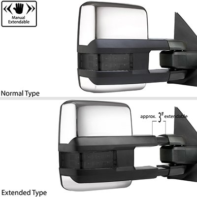 Ford F250 Super Duty 2008-2016 Chrome Tow Mirrors Smoked LED Lights Power Heated
