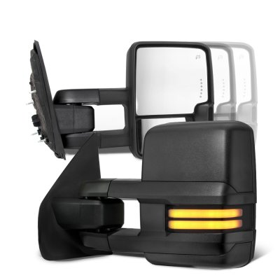 Ford F250 Super Duty 2008-2016 Tow Mirrors Smoked LED DRL Power Heated
