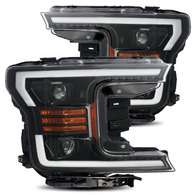 Ford F150 2018-2020 AlphaRex Jet Black Projector Headlights Switchback LED DRL Sequential Signal