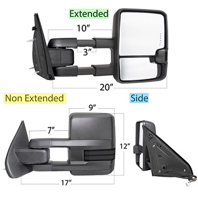 Dodge Ram 1500 2009-2018 Tow Mirrors Smoked LED DRL Power Heated