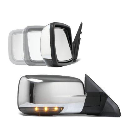 Dodge Ram 1500 2009-2012 Chrome Power Folding Side Mirrors Smoked LED Signal