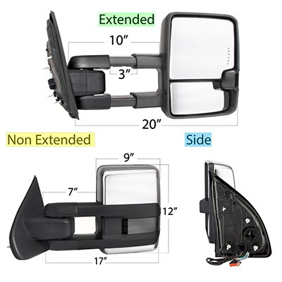 Ford F250 Super Duty 1999-2007 Chrome Tow Mirrors Smoked LED Lights Power Heated