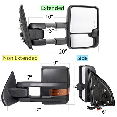 Ford F250 Super Duty 2008-2016 Tow Mirrors LED Lights Power Heated