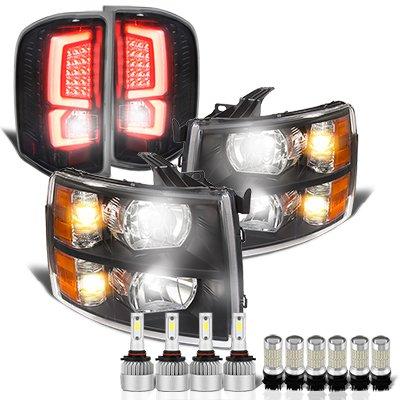 Chevy Silverado 2500HD 2007-2014 Black Headlights Custom LED Tail Lights LED Bulbs Complete Kit