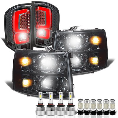 Chevy Silverado 2007-2013 Smoked Headlights Custom LED Tail Lights LED Bulbs Complete Kit